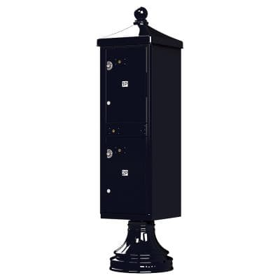 1590-T1V2 Outdoor Parcel Locker with Vogue Accessory in Black