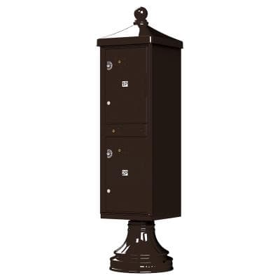 1590-T1V2 Outdoor Parcel Locker with Vogue Accessory in Dark Bronze