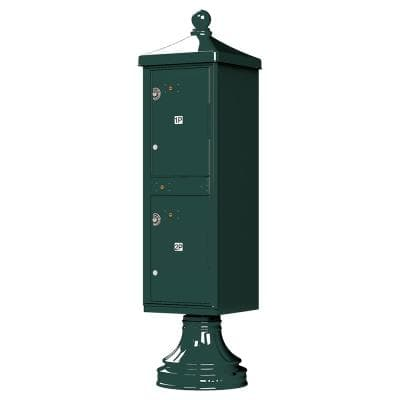 1590-T1V2 Outdoor Parcel Locker with Vogue Accessory in Forest Green
