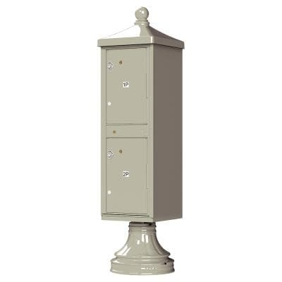 1590-T1V2 Outdoor Parcel Locker with Vogue Accessory in Postal Grey