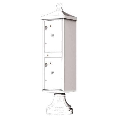 1590-T1V2 Outdoor Parcel Locker with Vogue Accessory in White